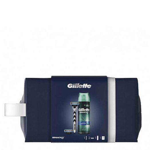Gillette Mach 3 Pack 1 maquinilla, 2 recambios y 1 gel de afeitar + neceser Estuche