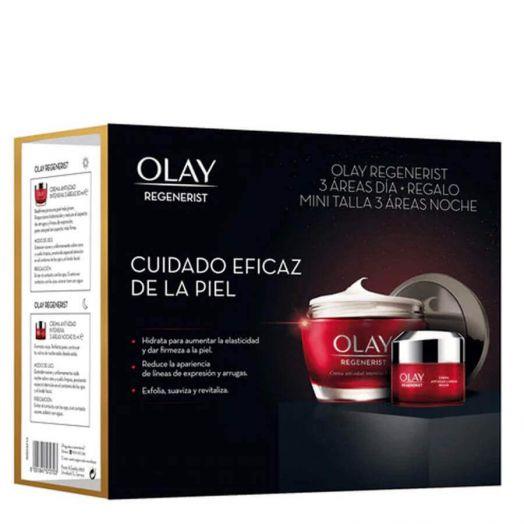 Olay Regenerist Pack 3 Areas Crema anti-edad intensiva 3 áreas tarro 50 ml + minitalla crema noche tarro 15 ml Estuche