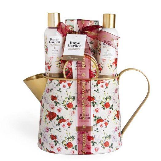 IDC Royal Garden Tin Can Estuche Set de Baño para el Cuidado Corporal con Aroma a Rosas Estuche