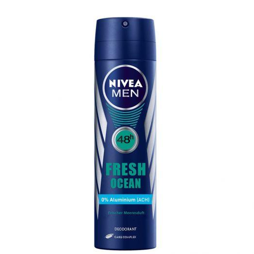 Nivea Men Fresh Ocean Desodorante 0% Aluminio En Spray 150 Ml